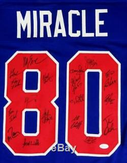 1980 Miracle On Ice Team USA Autographed Blue Jersey with 19 Sigs JSA W Auth
