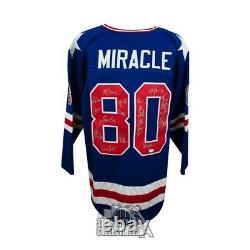 1980 Miracle on Ice Autographed Team USA Olympic Custom Blue Hockey Jersey JSA