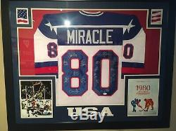 1980 USA Hockey Miracle Autographed Framed White XL Jersey 17 Sig JSA COA 35x43