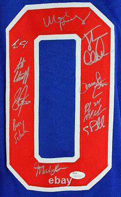 1980 USA Hockey Team (19) Signed Blue Jersey (Craig, Eruzione) JSA Witness