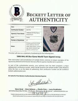 1998 NHL All Star Game World Team Signed Jersey With Beckett COA