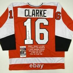 Autographed/Signed BOBBY BOB CLARKE Philadelphia Orange Stat Jersey JSA COA Auto