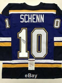 Autographed/Signed BRAYDEN SCHENN St, Louis Blue Hockey Jersey JSA COA Auto