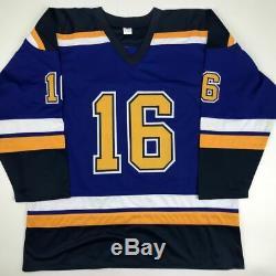 Autographed/Signed BRETT HULL HOF 2009 St. Louis Blue Hockey Jersey JSA COA
