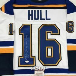 Autographed/Signed BRETT HULL HOF 2009 St. Louis White Hockey Jersey JSA COA