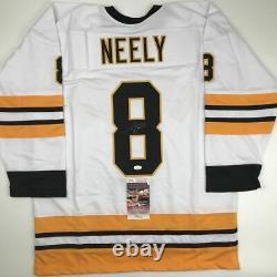 Autographed/Signed CAM NEELY Boston White Hockey Jersey JSA COA Auto