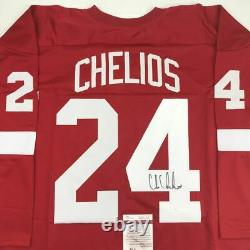 Autographed/Signed CHRIS CHELIOS Detroit Red Hockey Jersey JSA COA Auto