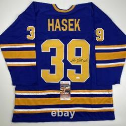 Autographed/Signed DOMINIK HASEK Buffalo Blue Hockey Jersey JSA COA Auto