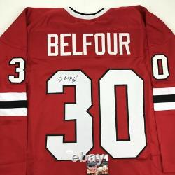 Autographed/Signed ED BELFOUR Chicago Red Hockey Jersey JSA COA Auto