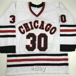 Autographed/Signed ED BELFOUR Chicago White Hockey Jersey JSA COA Auto