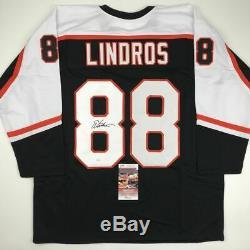 Autographed/Signed ERIC LINDROS Philadelphia Black Hockey Jersey JSA COA Auto