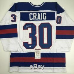 Autographed/Signed JIM CRAIG White Team USA Miracle 1980 Hockey Jersey JSA COA