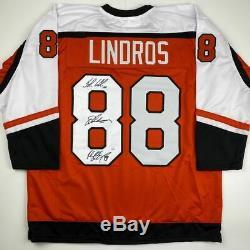 Autographed/Signed LEGION OF DOOM Lindros LeClair Renberg Orange Jersey JSA COA