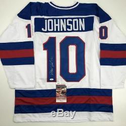 Autographed/Signed MARK JOHNSON White USA Miracle 1980 Hockey Jersey JSA COA
