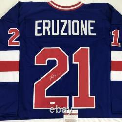 Autographed/Signed MIKE ERUZIONE Blue USA Miracle 1980 Hockey Jersey JSA COA