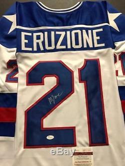 Autographed/Signed MIKE ERUZIONE USA Miracle 1980 White Hockey Jersey JSA COA