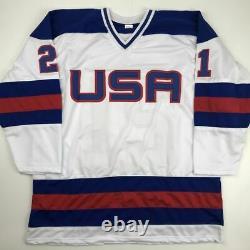 Autographed/Signed MIKE ERUZIONE USA White Miracle 1980 Hockey Jersey JSA COA