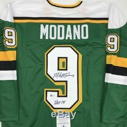 Autographed/Signed MIKE MODANO HOF 2014 Minnesota Green Jersey Beckett BAS COA