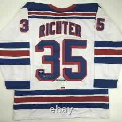 Autographed/Signed MIKE RICHTER New York White Hockey Jersey PSA/DNA COA Auto