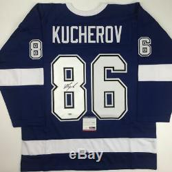 Autographed/Signed NIKITA KUCHEROV Tampa Bay Blue Hockey Jersey PSA/DNA COA Auto
