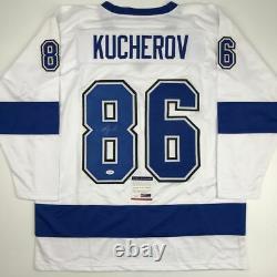 Autographed/Signed NIKITA KUCHEROV Tampa Bay White Hockey Jersey PSA/DNA COA