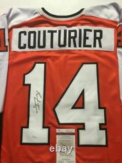 Autographed/Signed SEAN COUTURIER Philadelphia Orange Hockey Jersey JSA COA Auto