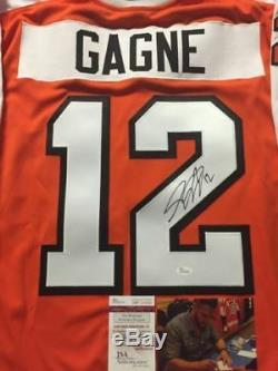 Autographed/Signed SIMON GAGNE Philadelphia Orange Hockey Jersey JSA COA Auto