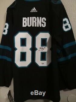 BRENT BURNS Signed autographed San Jose Sharks Jersey SZ 54. WITNESS JSA