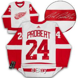 Bob Probert Detroit Red Wings Autographed White Adidas Authentic Hockey Jersey