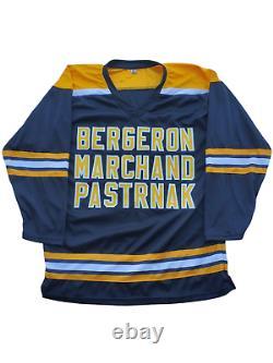Brad Marchand. Patrice Bergeron, David Pastrnak TRIPLE signed Custom Jersey