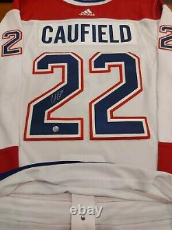 Cole CAUFIELD Signed Montreal Canadiens Pro Adidas White Jersey