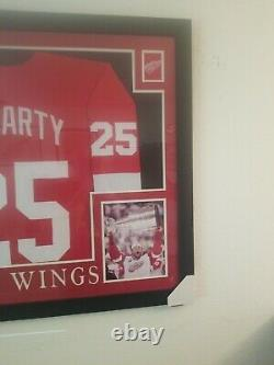 Darren McCarty Signed Red Wings 35x43 Framed Jersey Inscribed 4x SC Champs (JSA)
