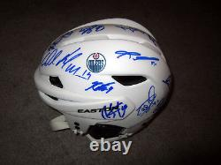 EDMONTON OILERS 2017-18 Team SIGNED Hockey Helmet withCOA McDavid Draisaitl Talbot