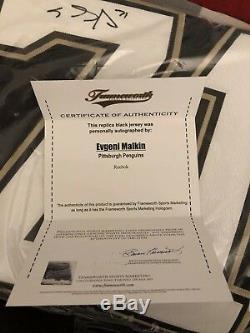 EVGENI MALKIN Signed Pittsburgh Penguins Black Jersey Frameworth COA Reebok