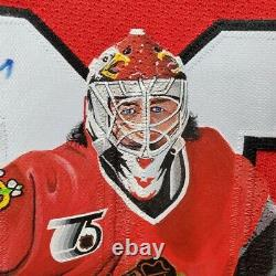 Ed Belfour Art Edition Signed Jersey Hand-painted Chicago Blackhawks