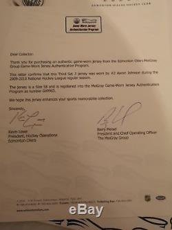 Edmonton Oilers Aaron Johnson Game Worn Signed Jersey with COA Sheffield Steelers
