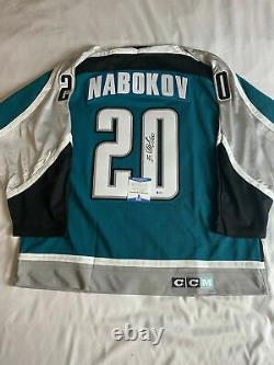 Evgeni Nabokov Signed San Jose Sharks CCM Jersey Beckett Bas Coa S08678