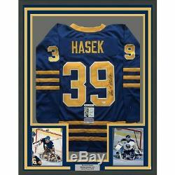 FRAMED Autographed/Signed DOMINIK HASEK 33x42 Buffalo Sabres Blue Jersey JSA COA