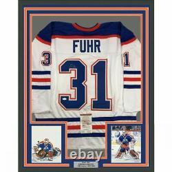 FRAMED Autographed/Signed GRANT FUHR 33x42 Edmonton White Hockey Jersey JSA COA