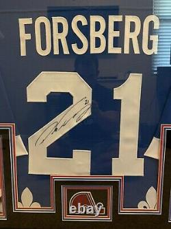 Framed Authentic Stitched Nordiques signed Peter Forsberg Autographed Jersey COA