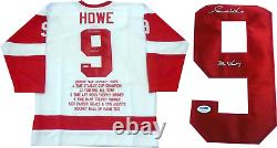 Gordie Howe Mr. Hockey Signed Detroit Red Wings Embroidered Stat Jersey (PSA)