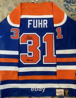 Grant Fuhr Autographed Mitchell & Ness Signed Authentic Oilers Jersey with UDA COA