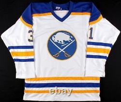 Grant Fuhr Signed Buffalo Sabres White Jersey Inscribed HOF 03 (JSA COA)
