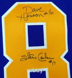 Hanson Brothers Slapshot Autographed Blue Chiefs Jersey 3 Sigs Psa/dna 123777