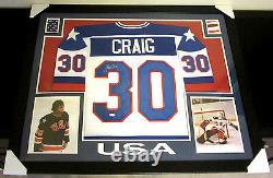 Jim Craig Signed Team USA 35x43 Framed Jersey (JSA COA) 1980 Gold Medal Goalie
