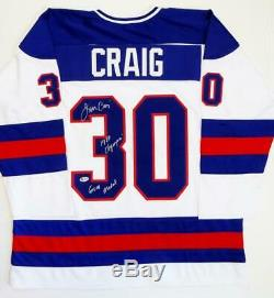 Jim Craig Signed Team USA White Jersey with 1980 Olympic Gold Medal- Beckett Auth
