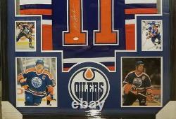 Mark Messier Autographed Edmonton Oilers Jersey Custom Framed Jsa Coa