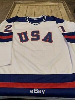 Mike Eruzione Autographed/Signed Jersey JSA COA Team USA