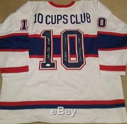 Montreal Canadiens Triple Signed 10 Cups Club White Jersey JSA COA