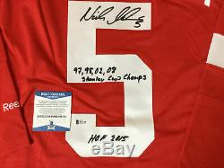 Nicklas Lidstrom Signed Detroit Red Wings Reebok Jersey Beckett Bas Coa N67158